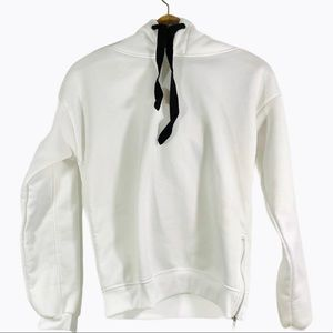 Tops - White Side Zip Black Drawstring Hoodie